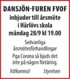 Årsmöte 2020 måndagen den 28/9 kl 19.00 Härlöv Skola